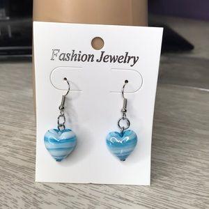 Beautiful blue glass heart earrings
